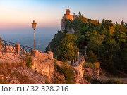 Купить «Guaita fortress in San Marino», фото № 32328216, снято 26 сентября 2019 г. (c) Коваленкова Ольга / Фотобанк Лори