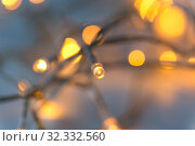 Купить «close up of electric garland lights», фото № 32332560, снято 26 сентября 2018 г. (c) Syda Productions / Фотобанк Лори