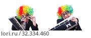 Купить «Funny clown with keyboard on white», фото № 32334460, снято 8 мая 2013 г. (c) Elnur / Фотобанк Лори