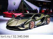Купить «Lamborghini Sian FKP 37», фото № 32340044, снято 17 сентября 2019 г. (c) Art Konovalov / Фотобанк Лори