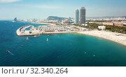Купить «Image of seaside of Barcelona outdoors.», видеоролик № 32340264, снято 24 июля 2018 г. (c) Яков Филимонов / Фотобанк Лори