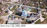 Купить «Aerial view of Vysotsky monastery in Serpukhov city, Russia region», видеоролик № 32340384, снято 1 мая 2019 г. (c) Яков Филимонов / Фотобанк Лори