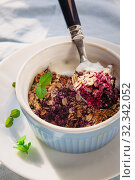 Купить «baked oat-blueberry crumble with mint in a white and blue plate on a rustic linen tablecloth. Save the space, top view. The concept of healthy proper nutrition for breakfast, vegetarianism.», фото № 32342052, снято 20 января 2019 г. (c) Tetiana Chugunova / Фотобанк Лори