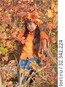 Купить «Девочка - осень», фото № 32342224, снято 26 октября 2019 г. (c) WalDeMarus / Фотобанк Лори