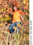 Купить «Девочка - осень», фото № 32342228, снято 26 октября 2019 г. (c) WalDeMarus / Фотобанк Лори