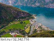 Купить «Aurland Village and Aurlandsfjord seen from Stegastein Overlook, The West Norwegian Fjords, Norway», фото № 32342716, снято 5 декабря 2019 г. (c) Николай Коржов / Фотобанк Лори