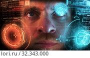 Ironman GUI - Graphical User Interface concept, holographic CGI screen. Стоковое видео, видеограф Dzmitry Astapkovich / Фотобанк Лори