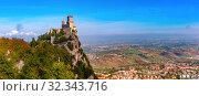 Купить «Guaita fortress in San Marino», фото № 32343716, снято 26 сентября 2019 г. (c) Коваленкова Ольга / Фотобанк Лори