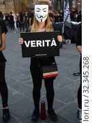 Купить «The 'Cubo della Verità' flash mob in Piazza della Repubblica in Florence by Anonymous for the Voicelless, against the exploitation of animals. Florence, Italy 26-10-2019.», фото № 32345268, снято 26 октября 2019 г. (c) age Fotostock / Фотобанк Лори