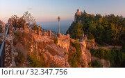 Купить «Cesta fortress in San Marino», фото № 32347756, снято 26 сентября 2019 г. (c) Коваленкова Ольга / Фотобанк Лори