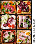 open sandwiches with different meat, top view. Стоковое фото, фотограф Ольга Сергеева / Фотобанк Лори