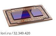 Купить «Processor board isolated on a white background. Motherboard chip cpu and gpu.», иллюстрация № 32349420 (c) Маринченко Александр / Фотобанк Лори