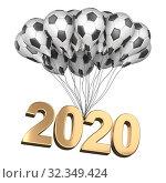 "Купить «Bunch balloons in a form soccer balls lifting up the inscription ""2020"". Big football feast.», иллюстрация № 32349424 (c) Маринченко Александр / Фотобанк Лори"