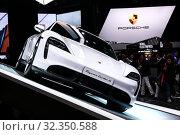 Купить «Porsche Taycan Turbo S», фото № 32350588, снято 18 сентября 2019 г. (c) Art Konovalov / Фотобанк Лори