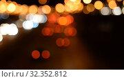 Купить «Night Car traffic highway city», видеоролик № 32352812, снято 1 июля 2018 г. (c) Mikhail Erguine / Фотобанк Лори
