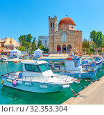 Купить «Seafront in Aegina town», фото № 32353304, снято 12 сентября 2019 г. (c) Роман Сигаев / Фотобанк Лори