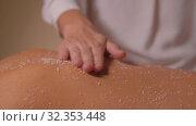 Купить «beautiful young woman having salt massage at spa», видеоролик № 32353448, снято 19 октября 2019 г. (c) Syda Productions / Фотобанк Лори