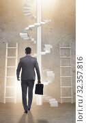 Купить «Career progression concept with ladders and staircase», фото № 32357816, снято 5 июля 2020 г. (c) Elnur / Фотобанк Лори