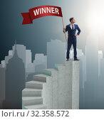 Купить «Businessman winner on top of staircase», фото № 32358572, снято 22 февраля 2020 г. (c) Elnur / Фотобанк Лори