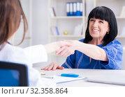 Купить «Senior patient visiting doctor for regular check-up», фото № 32358864, снято 12 июня 2017 г. (c) Elnur / Фотобанк Лори