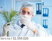 Купить «Biotechnology concept with scientist in lab», фото № 32359020, снято 27 апреля 2017 г. (c) Elnur / Фотобанк Лори