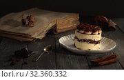 Купить «Classic Italian dessert Tiramisu», видеоролик № 32360332, снято 31 марта 2020 г. (c) Данил Руденко / Фотобанк Лори
