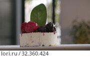 Купить «Presentation of ice cream cake with berries», видеоролик № 32360424, снято 14 ноября 2019 г. (c) Данил Руденко / Фотобанк Лори
