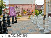 Купить «Граффити с изображением котов и шахматная доска с большими шахматными фигурами. Курортный проспект, 9. Город Зеленоградск. Калининградская область. Россия», фото № 32367396, снято 5 сентября 2019 г. (c) E. O. / Фотобанк Лори