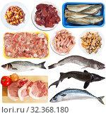 Купить «Assortment of raw meat and seafood», фото № 32368180, снято 11 июля 2020 г. (c) Яков Филимонов / Фотобанк Лори