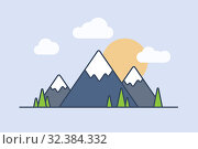 Line flat style mountains. Стоковая иллюстрация, иллюстратор Костенюкова Наталия / Фотобанк Лори