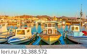Купить «Fshing boats in the port of Aegina town», фото № 32388572, снято 12 сентября 2019 г. (c) Роман Сигаев / Фотобанк Лори