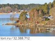 Купить «Stockholm archipelago, largest archipelago in Sweden, in Baltic Sea. Sunny spring landscape», фото № 32388712, снято 27 марта 2018 г. (c) Валерия Попова / Фотобанк Лори