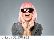 Купить «happy woman in pink wig and black sunglasses», фото № 32390932, снято 30 сентября 2019 г. (c) Syda Productions / Фотобанк Лори