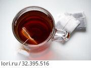 Купить «Cup of tea on white background», фото № 32395516, снято 9 ноября 2019 г. (c) Юлия Перова / Фотобанк Лори