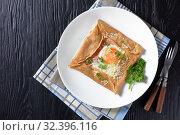 Купить «hot Buckwheat Galettes Bretonnes with fried egg», фото № 32396116, снято 30 августа 2019 г. (c) Oksana Zh / Фотобанк Лори