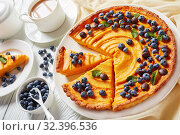 Купить «hot cocoa drink served with sliced pumpkin pie», фото № 32396536, снято 16 сентября 2019 г. (c) Oksana Zh / Фотобанк Лори