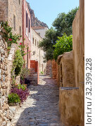 Купить «View of street fortified town Monemvasia (Laconia, Greece, Peloponnese)», фото № 32399228, снято 15 июня 2019 г. (c) Татьяна Ляпи / Фотобанк Лори