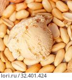 Eine Kugel Erdnusseis mit Erdnüssen von oben. Стоковое фото, фотограф Zoonar.com/Robert Kneschke / age Fotostock / Фотобанк Лори
