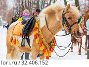 Купить «Russia, Samara, March 2019: Shrovetide. Walking horse in a beautiful harness.», фото № 32406152, снято 10 марта 2019 г. (c) Акиньшин Владимир / Фотобанк Лори