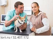 Купить «Troubled girl with dog in veterinarian clinic», фото № 32407172, снято 13 сентября 2019 г. (c) Яков Филимонов / Фотобанк Лори