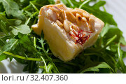 Купить «Camembert cheese with pine nuts and arugula», фото № 32407360, снято 16 июля 2020 г. (c) Яков Филимонов / Фотобанк Лори