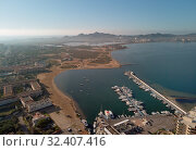 Aerial panoramic photography drone point of view La Manga del Mar Menor townscape and seaside spit of Mediterranean Sea, Mar Menor in Region of Murcia, Spain (2019 год). Стоковое фото, фотограф Alexander Tihonovs / Фотобанк Лори