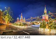 Купить «Новогодняя Красная Площадь Christmas Red Square», фото № 32407448, снято 16 декабря 2018 г. (c) Baturina Yuliya / Фотобанк Лори