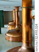 Купить «Tanks for storage and fermentation of beer in beer factory», фото № 32410324, снято 13 декабря 2019 г. (c) Яков Филимонов / Фотобанк Лори