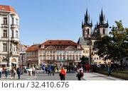 Купить «Prague, Czech - October 13, 2019: Old Town Square on bright autumn day. Prague. Czech Republic», фото № 32410676, снято 13 октября 2019 г. (c) Яков Филимонов / Фотобанк Лори