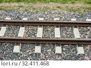 Купить «Узкоколейная железная дорога. Ширина колеи 750 миллиметров», фото № 32411468, снято 20 июля 2019 г. (c) Александр Романов / Фотобанк Лори