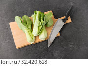 bok choy cabbage and knife on cutting board. Стоковое фото, фотограф Syda Productions / Фотобанк Лори