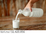 Купить «female hand pouring milk from bottle to glass», фото № 32420856, снято 16 августа 2018 г. (c) Syda Productions / Фотобанк Лори