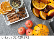 Купить «pot of hot mulled wine, orange, apples and spices», фото № 32420872, снято 4 октября 2018 г. (c) Syda Productions / Фотобанк Лори