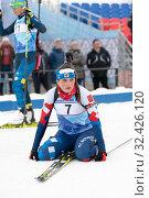 Купить «Sportswoman biathlete Yashunkina Yuliya after skiing relax at finish line», фото № 32426120, снято 12 апреля 2019 г. (c) А. А. Пирагис / Фотобанк Лори